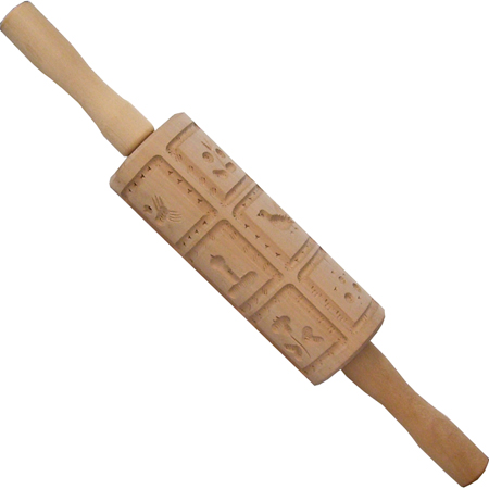 Fox Run 6-1-2in Hand Carved Springerle Rolling Pin