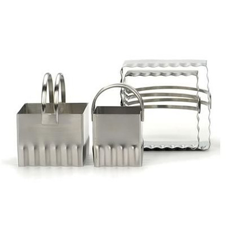 RSVP 4-Pc. Rippled Square Biscuit Cutter Set