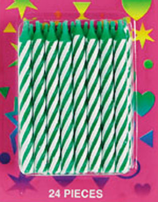 Bakery Crafts Candy Stripe Candles Green
