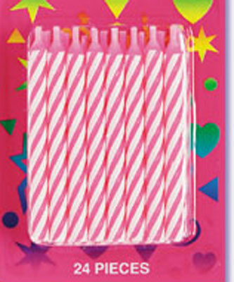 Bakery Crafts Candy Stripe Candles Pink