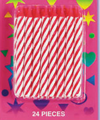 Bakery Crafts Candy Stripe Candles Red