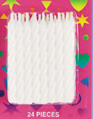 Bakery Crafts Candy Stripe Candles White