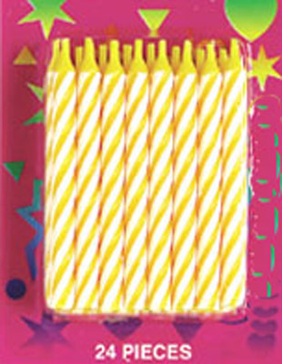 Bakery Crafts Candy Stripe Candles Yellow