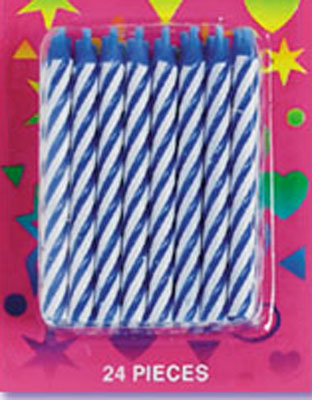 Bakery Crafts Candy Stripe Candles Blue