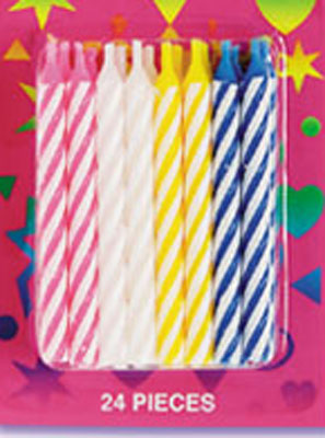 Bakery Crafts Candy Stripe Candles Asst Colors