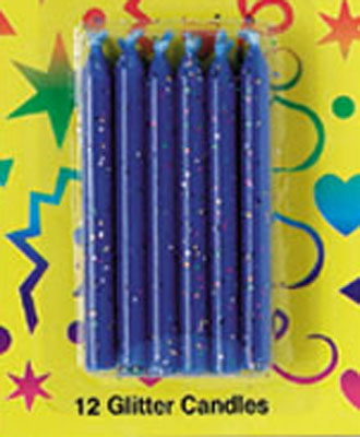 Bakery Crafts Glitter Candles Blue