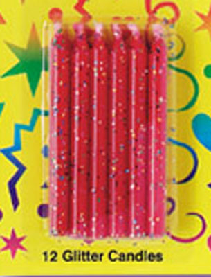 Bakery Crafts Glitter Candles Red