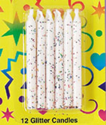 Bakery Crafts Glitter Candles White