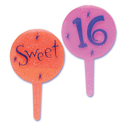 Bakery Crafts Sweet Sixteen Glitter Cupcake Picks