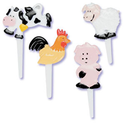 Bakery Crafts Farm Animals Puffy Cupcake Picks