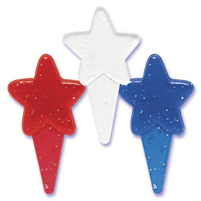 Red, White & Blue Glitter Star Cupcake Picks
