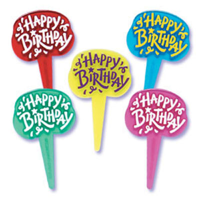 Happy Birthday Jewel Cupcake Picks