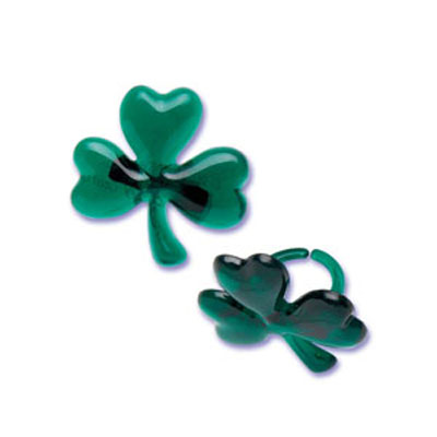 Bakery Crafts Shamrock Puffy Glitter Rings