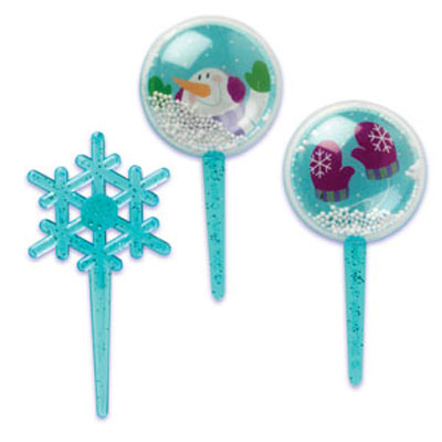 Bakery Crafts Snow Globe and Snowflake Glitter Cupcake Picks