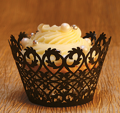 Cupcake Wrappers Black Filigree Design