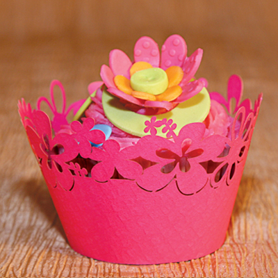 Cupcake Wrappers Happy Flowers Design