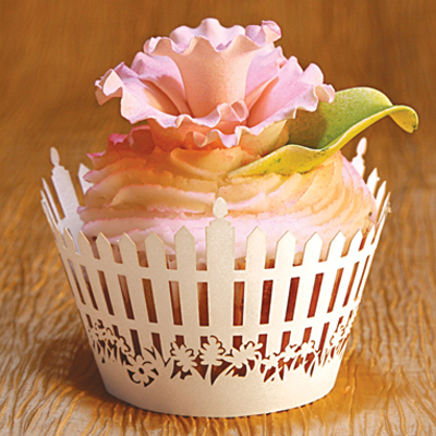 Paper Orchid Cupcake Wrappers Picket Fence Design