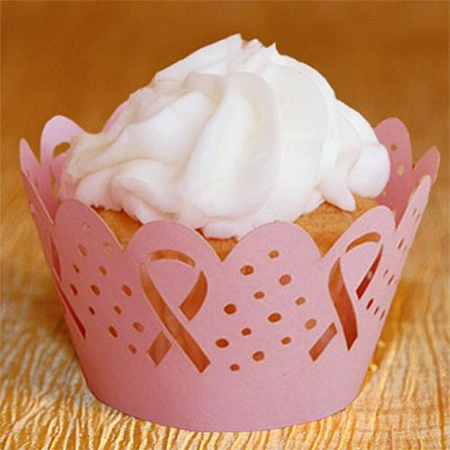 Cupcake Wrappers Pink Ribbon Design