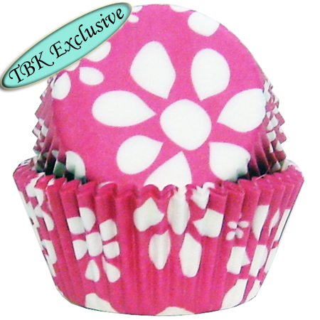 Pink Flower Print Baking Cups