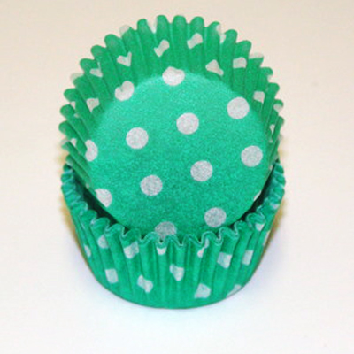 Green Polka Dots Baking Cups
