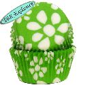 Lime Green Flower Print Baking Cups