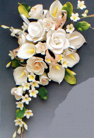 Large Tea Rose & Calla Lily Spray
