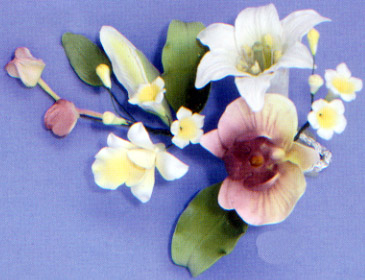 Day Lily & Philimopsys Orchid Spray Gumpaste Flower