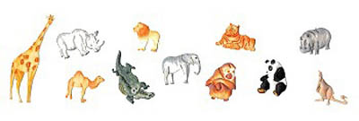 Safari Animals Tappits Set