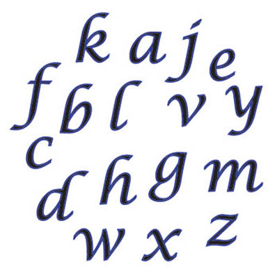 Alphabet Script Lower Case Tappits Set