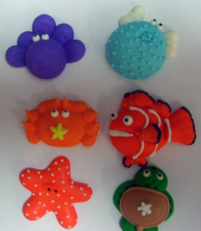Sea Animals Icing Sugar Decorations 6 ct