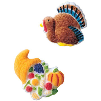 Turkey and Cornucopia Assortment Sugar Decorations