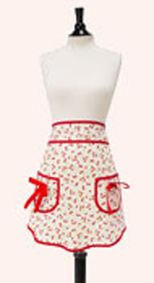 Jessie Steele Retro Cherries Print Half Apron