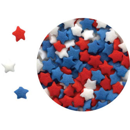 Mini Red, White & Blue Stars Shaped Sprinkles