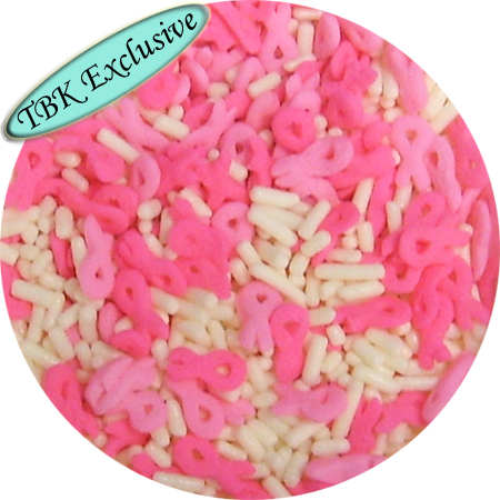 Pink Ribbon Shaped Sprinkles