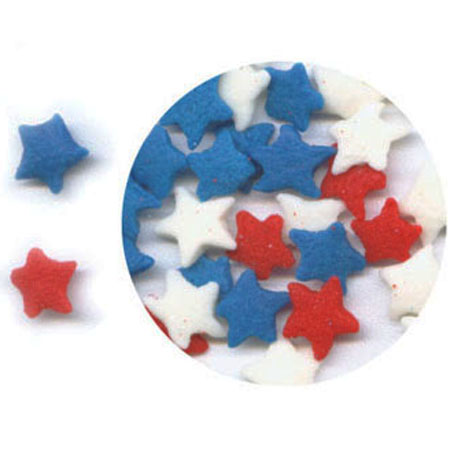 Red, White & Blue Stars Shaped Sprinkles