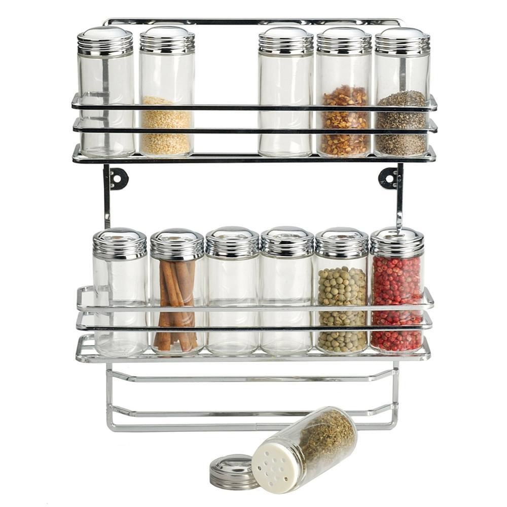Kitchen Rack Set: RSVP Endurance Hanging Spice Rack & 12 Bottle Set