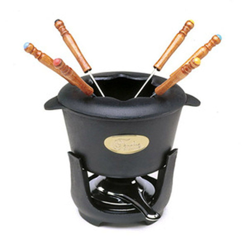 norpro 10 piece cast iron fondue set. Black Bedroom Furniture Sets. Home Design Ideas