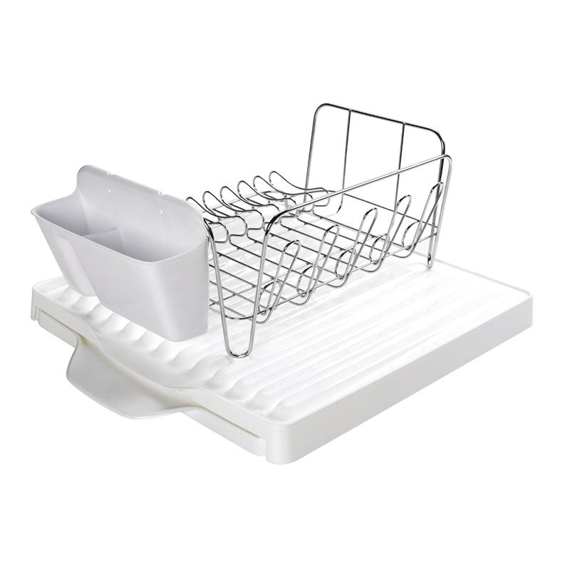 oxo good grips 3 piece dish rack set with expandable drain board. Black Bedroom Furniture Sets. Home Design Ideas