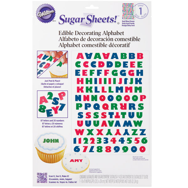 Wilton Alphabet Sugar Sheets Edible Decorating Paper