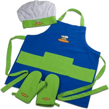 Curious Chef Kids 4 Piece Blue/Green Textile Set