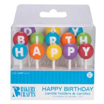 Bakery Crafts Happy Birthday Cake Candle Holder Picks and Candles
