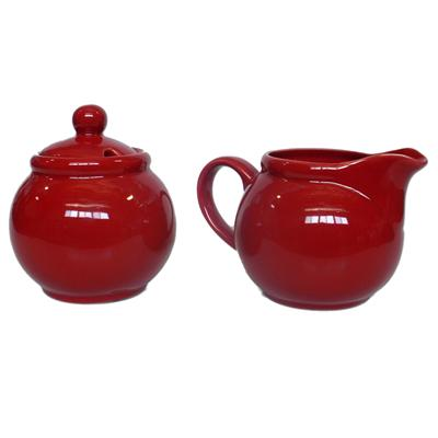 Ceramic Creamer and Sugar Set with Sugar Spoon Slot - Red