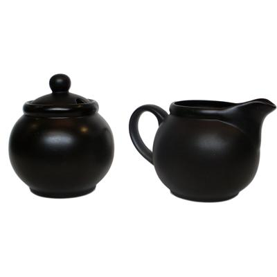 Ceramic Creamer and Sugar Set with Sugar Spoon Slot - Matt Black