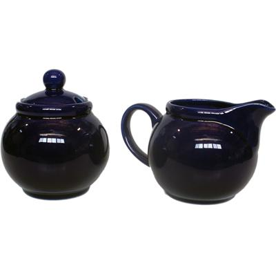 Ceramic Creamer and Sugar Set with Sugar Spoon Slot - Cobalt Blue
