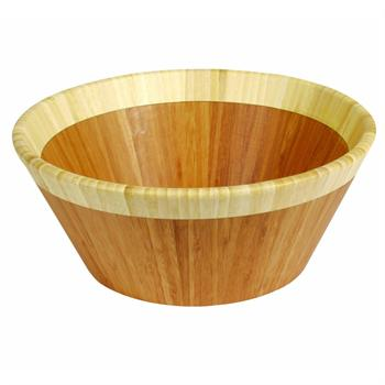 Island Bamboo 12-Inch Round Salad Bowl, Brown with White Rim