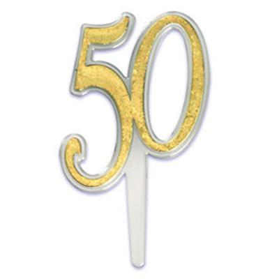 Bakery Crafts Gold 50th Anniversary Cake Pick