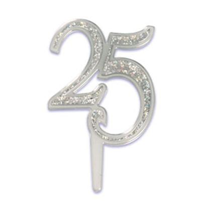 Bakery Crafts Silver 25th Anniversary Cake Pick