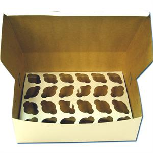 White 2 Dozen Mini Cupcake Box - 2 Piece