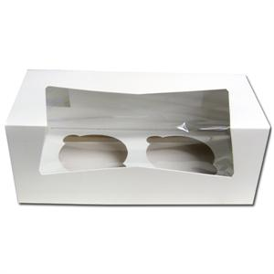 White 2 Count Cupcake Box With Insert - 12 Sets Per Pack