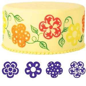 4-Pc. Flowers Cake Stamp Set